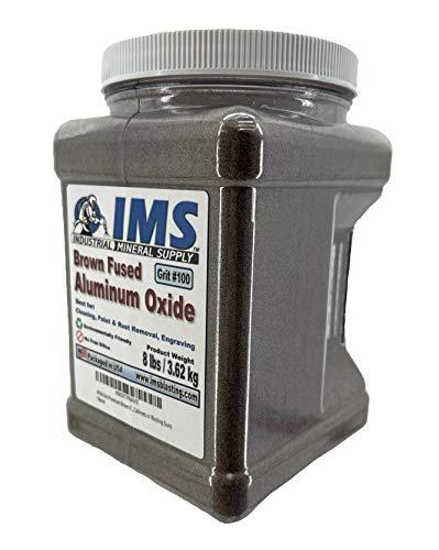 #100 Grit Premium Brown Fused Aluminum Oxide - (8 LBS or 3.62 kg) - Medium Grade High Density & Anti-Skid Sand Blasting Abrasive Media for Blast Cabinets or Blaster Guns