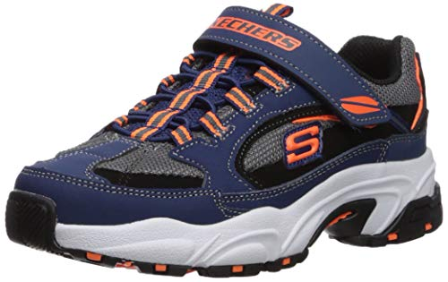 Skechers Kids Boys' Stamina-QUICKBACK Sneaker, Navy/Black, 12 Medium US Little Kid