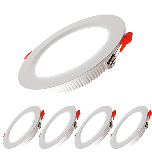Paquete de 5 Luces LED para Empotrar en el Techo, 7W Downlight Equivalente a 70W,700LM Blanco Frío 6000K AC 220-240V,Recorte 80-90mm, IP44 Foco de Techo Ultraplano para Dormitorio,Baño,Cocina (Blanco)
