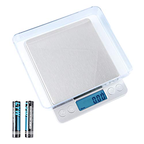 TLOG Digital Kitchen Scale 500g/001g Cooking Food Scale with LCD Display Mini Pocket Jewelry Scale with 2 Trays amp 6 Units Conversion Auto Off Tare PCS Function Battery Included