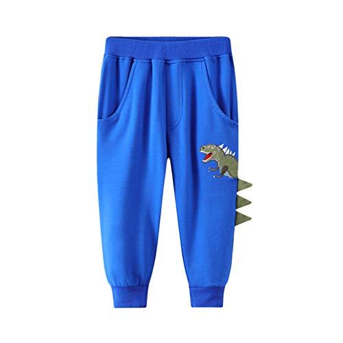 Lightweight Joggers for Baby Boys Girls,Comfy Cartoon Pattern Pants Casual Drawstring Elastic Sweatpants Blue