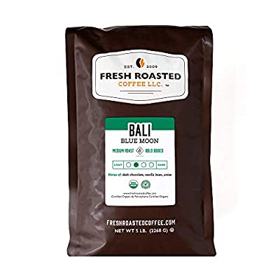 Fresh Roasted Coffee LLC, Organic Bali Blue Moon Coffee, Medium Roast, Whole Bean, 5 Pound Bag