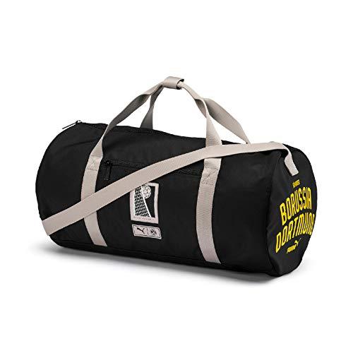 PUMA Unisex– Erwachsene BVB Premium Barrell Bag Sporttasche, Black-Cyber Yellow, OSFA