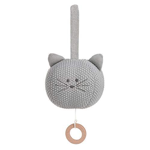 LÄSSIG Baby Spieluhr aus Strick Guten Abend, gute Nacht/Little Chums Mouse Cat, grau