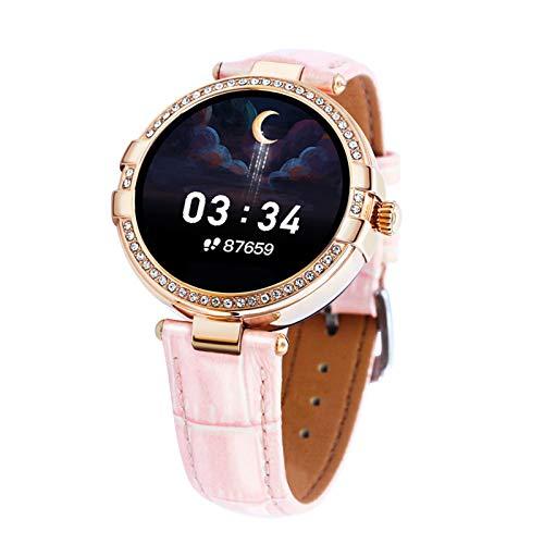 FMSBSC Mujer Smartwatch Pulsera Actividad con Medidor De Temperatura Corporal Pulsómetro, Reloj Inteligente para Deporte, Podómetro, Pulsera Deporte para Android Y iOS,Rosado