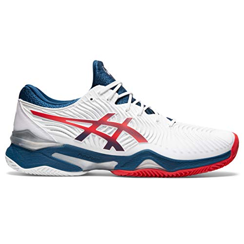 Asics Court FF 2 Clay, Tennis Shoe Hombre, White/Mako Blue, 45 EU