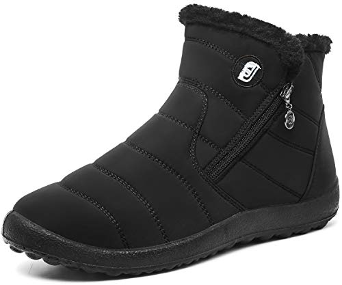 Scurtain Womens Ankle Winter Snow Boots Comfort Warm Booties Black 8.5 Women/7.5 Men