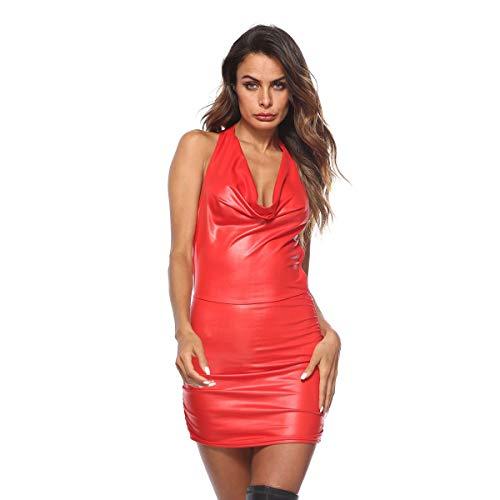 ALASON Frauen PU Lederkleider Sexy Partykleid Ärmellose Rückenfreie Sling Weste Kleid Shiny Wetlook Cocktailkleider,Rot,XXXXL