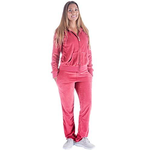 Womens Jogging Suits Sets Pink Velvet Velour Tracksuit Active wear 2 Piece Jogging Suits Sweat Suits Outfits (XL, Coral)
