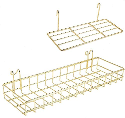 AQJSQ Korb/Regal für Gitter Pinnwand, DIY Multi-Funktion Wandgitter Gold deko 40 * 10 * 5/25 * 10 * 8 cm…
