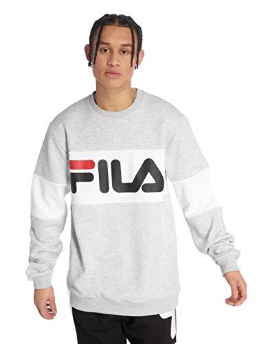 FILA Sweatshirt Herren Straight Blocked Crew 681255 A068 Light Grey Bright White, Größe:L