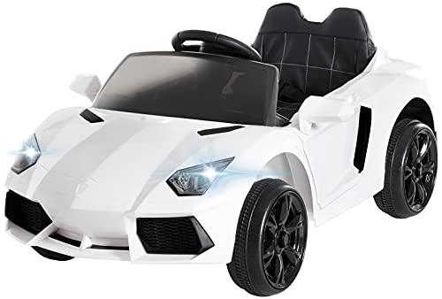 Actionbikes Motors Kinder Elektroauto Super Sport - Ledersitz - Mp3 - USB - SD - 2,4 Ghz Rc Fernbedienung mit Not Stop - Softstart - Elektro Auto für Kinder ab 3 Jahre (Weiß)