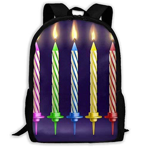 Schulrucksack Gebrannte Geburtstagsfeier Und Weihnachtskerzen Rucksack wasserdichte Schultaschen Durable Travel Camping Rucksäcke für Jungen und Mädchen
