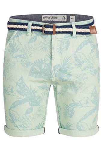 Indicode Herren Curtain Chino Shorts m. Blumen-Print inkl. Gürtel aus 100% Baumwolle   Kurze Hose Regular Fit Bermuda Sommerhose Herrenshorts Short Men Pants Chinohose f. Männer Surf Spray L