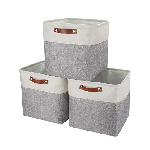 Mangata Stoff Aufbewahrungsbox, Cube Aufbewahrungskorb für Kleiderschrank, Regale und Schrank, 3er-Set (Grau/Weiß, 3er Pack)