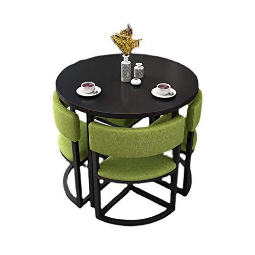 CHICAI Mesa de comedor y silla redonda pequeña para apartamentos pequeños, combinados, área de ocio, balcón, mesa redonda pequeña, apta para salón, oficina (color: A)