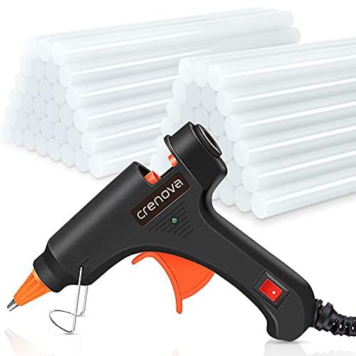 Crenova Heißklebepistole Klebepistole + 60 Heißklebesticks Transparente Klebesticks für DIY Kleine Handwerk & schnelle Reparaturen in Haus und Büro, 20Watt Klebepistolen