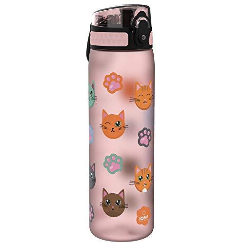 Ion8 Sottile, Borraccia Senza Perdite, Senza BPA Unisex, Multicolore (Gatti), 500 ml