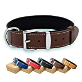 TUBERK Leather Dog Collar – Heavy-Duty Dog Collars for Medium and Large Dogs – Genuine Vegetable Tanned Leather – Soft Padded – Luxurious Design - Strong Metal Buckle (L (20.5' - 23.5'), Brown)