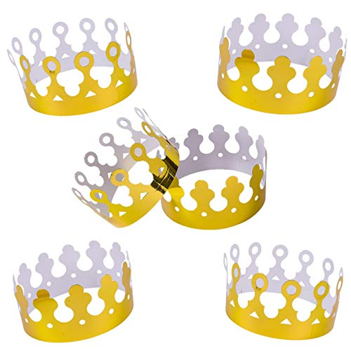 Playo Gold Foil Crowns – Pack of 12 Gold King Crowns – Perfect for King Costume accessories