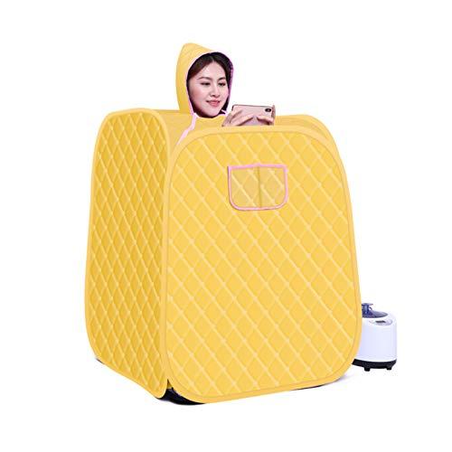 GFSD 2L Tragbarer Wellnessraum 9 Gänge Einstellbar Fernbedienungstemperatur Dampfsauna-Schönheitszelt Home Beneficial Abnehmen des Körpers Mit Zubehör (Color : Yellow, Size : Individual)