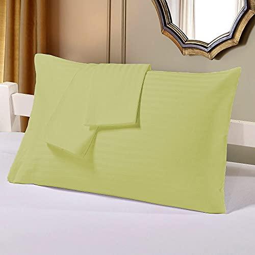 Bedding Attire 2 piezas fundas de almohada de algodón egipcio a rayas 600 TC Queen 50 x 75 cm y color salvia