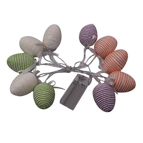 Luccase 1,5 M Ostern Lichterketten Ei Form Kunststoff Nachtlicht Laterne 10 LED Lichter Ostereier für Party Dekoration Hochzeitsdekoration