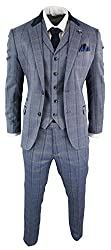 Complete With Blazer, Waistcoat & Trousers Amazing Contrasting Blue With Navy Check And Navy Trim Detailing Perfect Any Formal Occasion Such As Weddings, Proms, Parties Or Office Wear, Tailored Fit (inbetween slim & regular) Many More Styles & Colour...