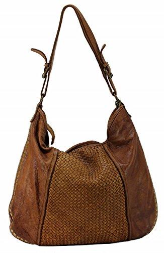BZNA Bag Jessi Cognac Braun Italy Designer Damen Handtasche Schultertasche Tasche Leder Shopper Neu