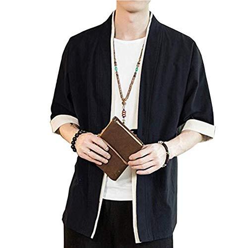PengGengA Mezclas de algodón de lino delantera abierta Cardigan chaquetas kimono para Hombres METRO Negro