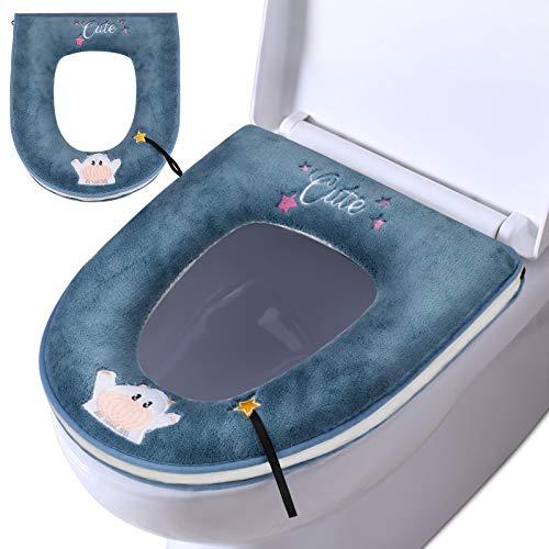 Toilettensitzabdeckungen, Waschbar WC Sitzbezüge,Verdickte Toiletten Sitzbezug Sitz, PU Reißverschluss WC-Sitzmatte mit Einweg-Toilettensitzpolstern