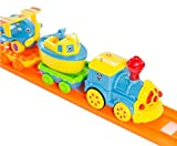Haktoys Eduational Connect-N-Play Railway Playset with Train Sound On/Off Button - Colors May Vary