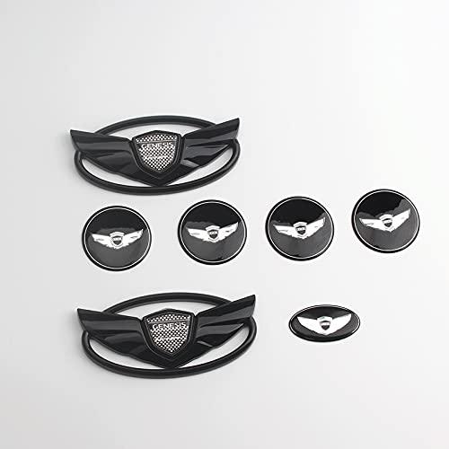 7 unids/Set Coche Wing Logo Parrilla Delantera Tapa del Maletero Emblema Insignia Volantes Centro de Rueda Tapa de Cubo Stickcer para Genesis Coupe