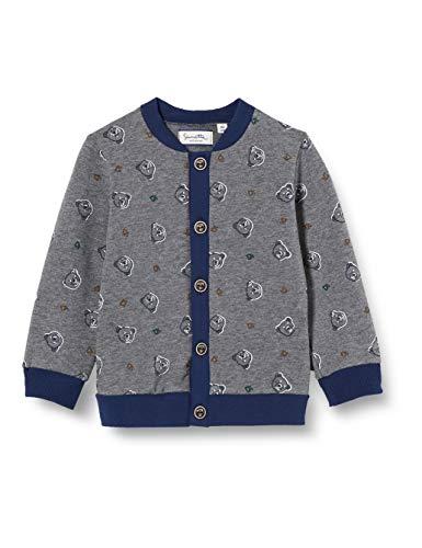 Sanetta Baby-Jungen FIFTSEVEN Sweatjacke Dark Grey Mel. Schickes Sweatjäckchen In Graumelange Fiftyseven mit einem bärigen Alloverprint, grau, 062
