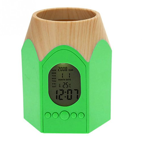 Draagbare Potlood Pot Pen Houder briefpapier Opslag LED Digitale Potlood Houder Alarm Klok Tafel Klok Kantoor Temperatuur Kalender