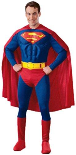 Fancy Ole - Herren Männer Kostüm Superman mit Umhang, Muskel-Jumpsuit, Überziehstiefel und Gürtel, L, Blau