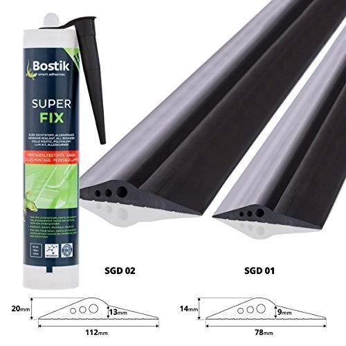 STEIGNER Garagentor Dichtung inkl. Montagekleber Bodenabdichtung aus EPDM, 3m, 14mm x 78mm, SGD01