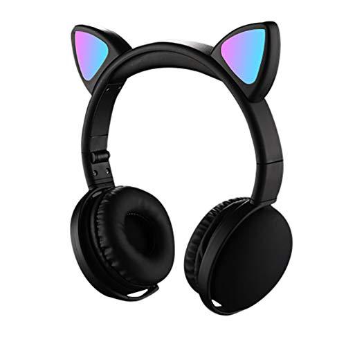 Auriculares Inalambricos,Cascos Inhalabricos Uriculares Bluetooth Luminosos con Orejas de Gato,Alta Fidelidad Estéreo Cascos Plegables,Auriculares Diadema (Negro)