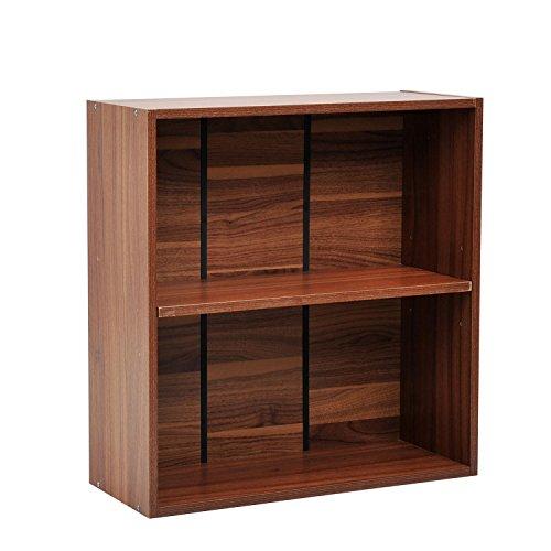 homcom Libreria Mobiletto Armadietto 2 Ripiani Legno 60 × 24 × 63cm Noce
