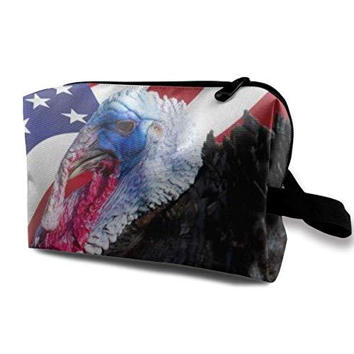 Trousse de Maquillage Pochette cosmétique Turquie Oiseau Irisé Drapeau américain Sac Multifonctionnel Kit de Voyage Sac de Rangement