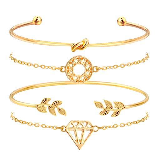 XQxiqi689sy Bracelet Bangle Women Circle Charm Rhinestone Inlaid Open Arrow Chain Wristband Circlet 4pcs/set Golden4 Pcs/Set
