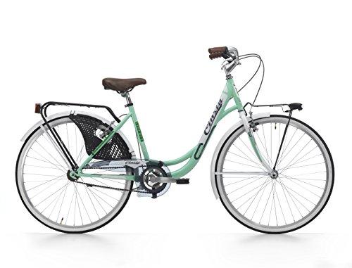 Cicli Cinzia Bicicletta 26' Citybike Liberty Donna 6/V Revo Shift V-Brake Alluminio, Fanali a Pila Verde Menta/Bianco