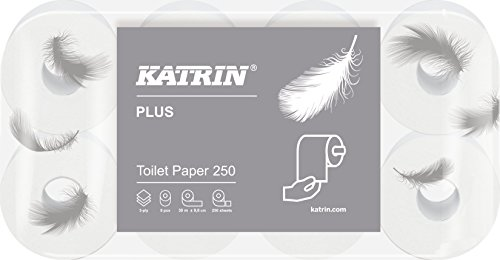 Katrin Toiletpapier 3-laags, wc-papier Katrin Plus Toilet 250-8 rollen, zeer zacht, wit