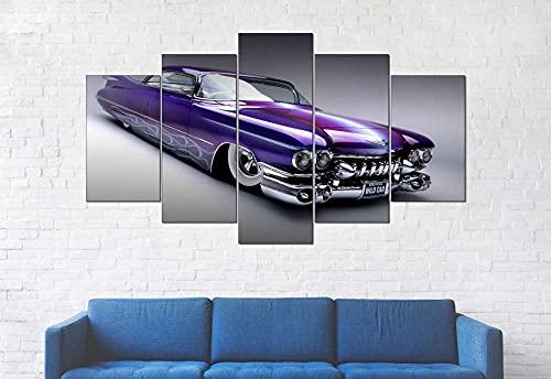 GSDFSD Composición de 5 Cuadros de Madera para Pared - Coche Deportivo púrpura - Cuadros Dormitorios Modernos - Listo para Colgar - 100 * 50 cm