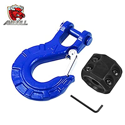 """AMBULL Heavy Duty Forged Steel 3/8"""" Grade 70 Safety Latch Winch Cable Hook Stopper & Clevis Slip Hook Sets, Included Allen Wrench,Max 35,000 lbs, Blue"""