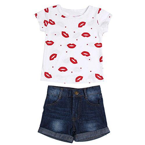 Conjunto de shorts de verão para bebês Diamondo com estampa de lábios vermelhos e calça jeans (#80)