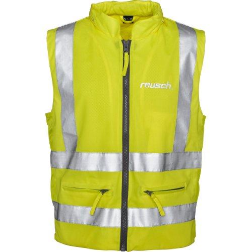 Reusch Sicherheitsweste Warnweste Motorrad Fahrrad gelb Warnweste Motorrad, reflektierende, gelbe Warnschutzweste, wasserdichte Sturmhaube, silberne Reflektoren, 2 Außentaschen, 1 Innentasche, L