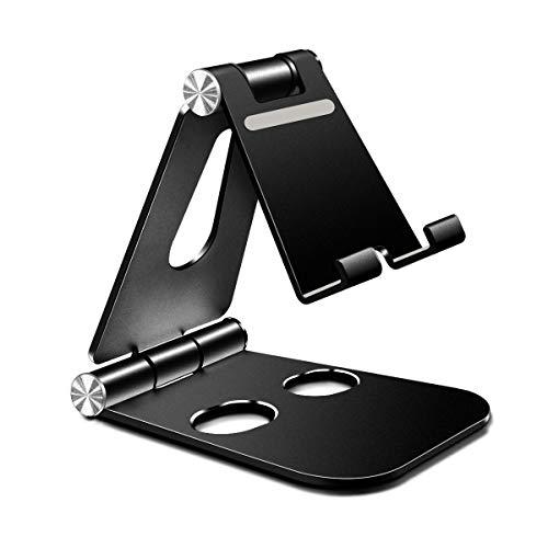 """Mipcase Universale Supporto Cellulare Regolabile, Supporto Telefono in Alluminio Pieghevole e Stabile Supporto per Tablet, iPhone 12/11, 12 PRO Max, Samsung A72, S21, Altri Smartphone [4-13""""] (Nero)"""