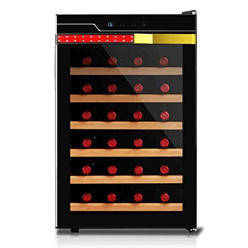Jiongzhuo Weinkühler Elektronische Konstante Temperatur Haushalt Kleine Mini Gekühlte Zigarren Tee 28 Flaschen Holzrahmen (Farbe : SCHWARZ)