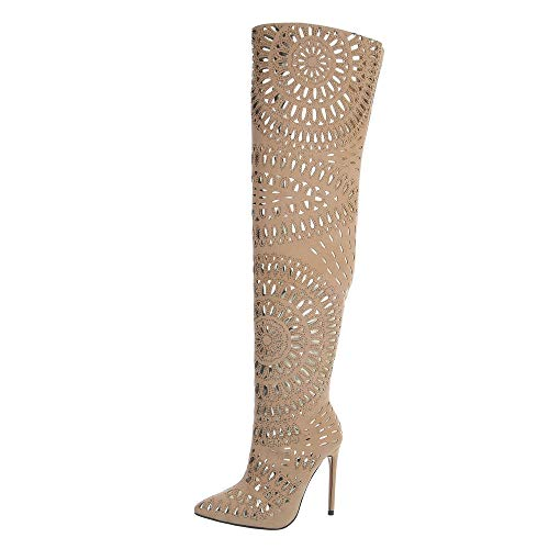Ital-Design Damenschuhe Stiefel Overknees Synthetik Beige Gr. 37